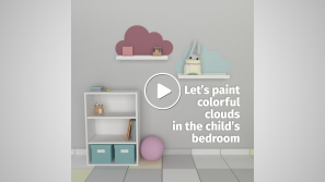 Colorful clouds in the child's bedroom cover image